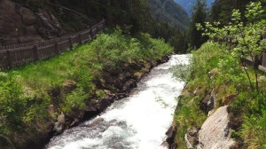 Der Reinbach, wenige Meter bevor er den oberen Wasserfall hinabstürzt