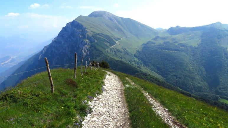 Hier beginnt der Abstieg von der Colma di Malcesine, mit Blick auf den Monte Altissimo di Nago
