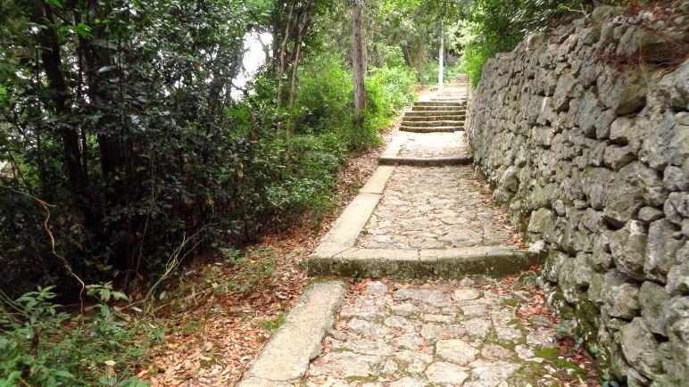 Der Beginn des Weges will mich in Sicherheit wiegen: Nur ein paar harmlose Stufen