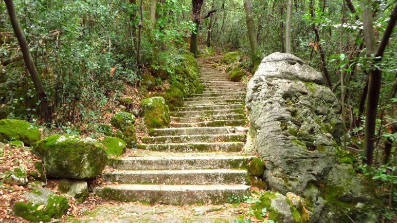 Eine besonders lange Treppe auf dem Weg nach Mošćenice