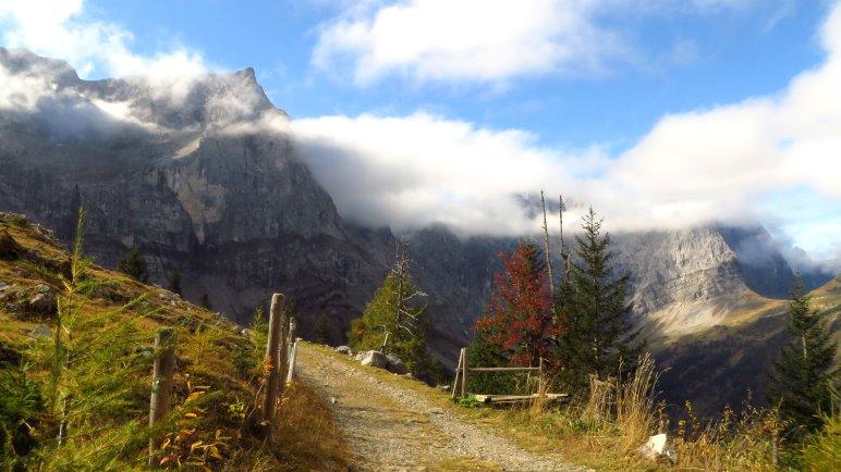 An der Drijaggenalm: Der Blick hinüber zur Spritzkarspitze und zu den Lalidererwänden