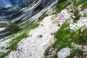 Unser Aufstiegsweg, kurz vor dem Lamsenjoch