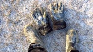 SO sahen meine Stiefel, meine Handschuhe und meine Hose hinterher aus. Aber ich habe einen Golfball gefunden