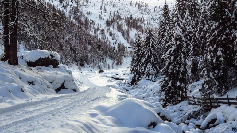 Der verschneite Abstiegsweg von der Ulfaser Alm