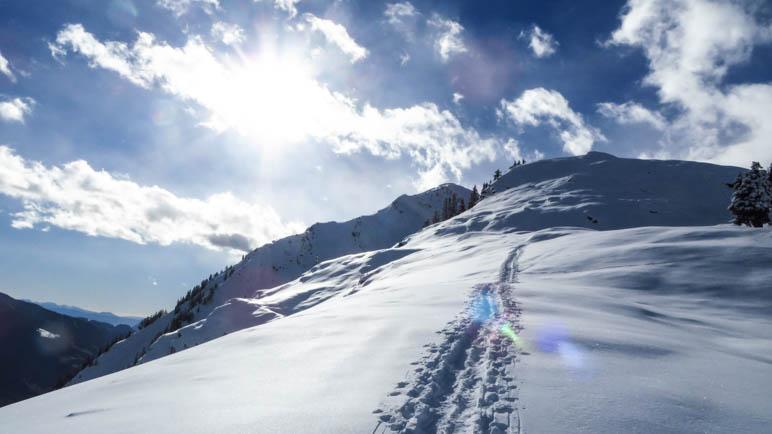 Nur eine Aufstiegsspur auf das Hahnl ist zu sehen. Die von unserer Schneeschuh-Wandergruppe
