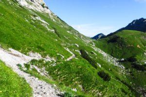 Auf dem Weg von der Lamsenjochhütte zum westlichen Lamsenjoch