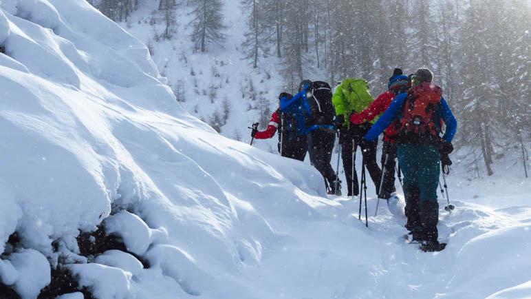 Richtung Gipfel, aber doch nicht ganz hoch: Kurz hinter der Seeberg Alm auf der Schneeschuhtour durchs Passeiertal