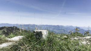 Ein Grenzstein auf dem Deutschen Weg zum Purtschellerhaus. Berchtesgadener Alpen