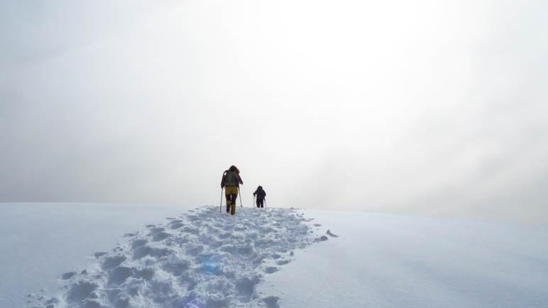 Schneespuren. Nur noch wenige Meter …