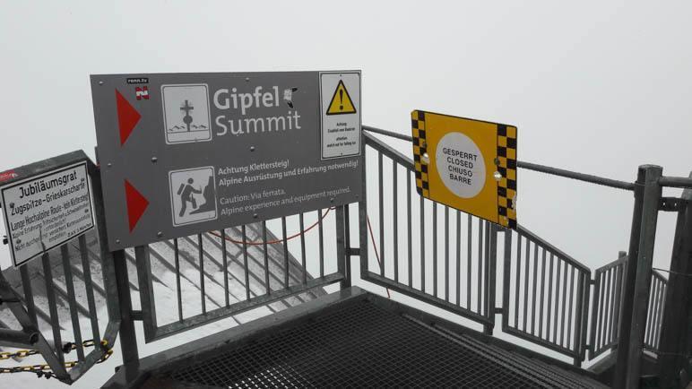 Der Weg zum Gipfel und zum Jubiläumsgrat sind noch gesperrt