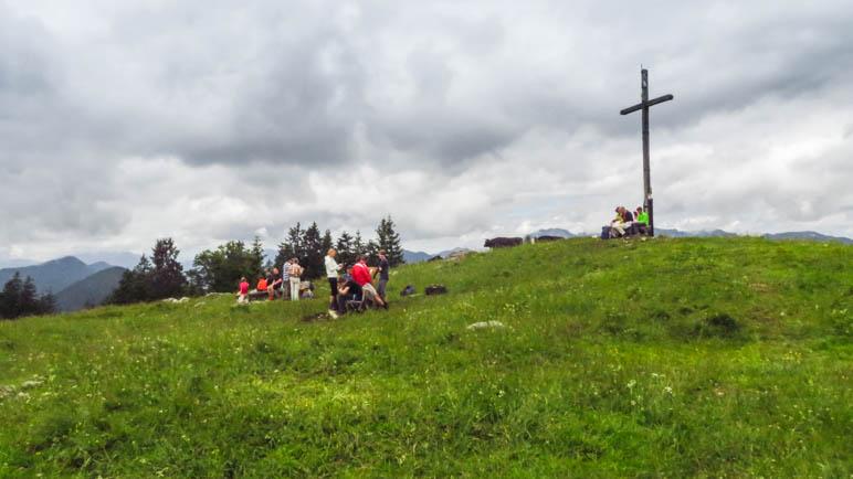 Am Hochalm Gipfel, das Panorama ist zumindest zu erahnen. Aber Kühe und Mikki sind keine gute Kombination