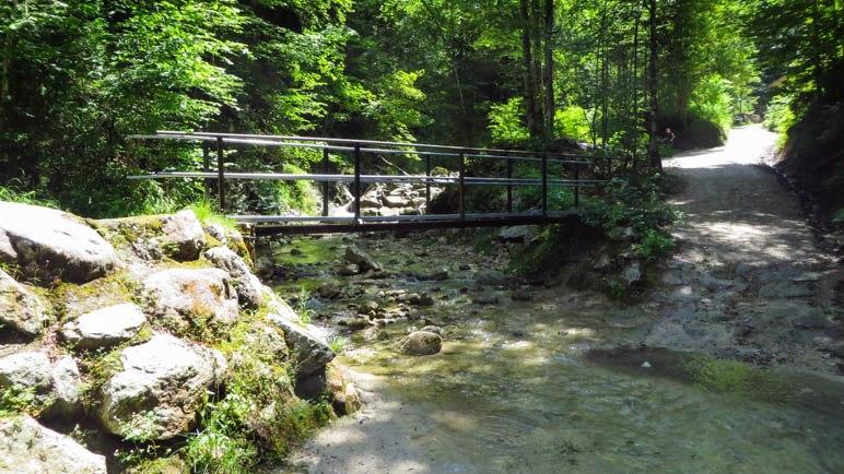 Die erste Brücke: Sollen wir durch den Bach waten oder doch lieber auf Nummer sicher gehen?
