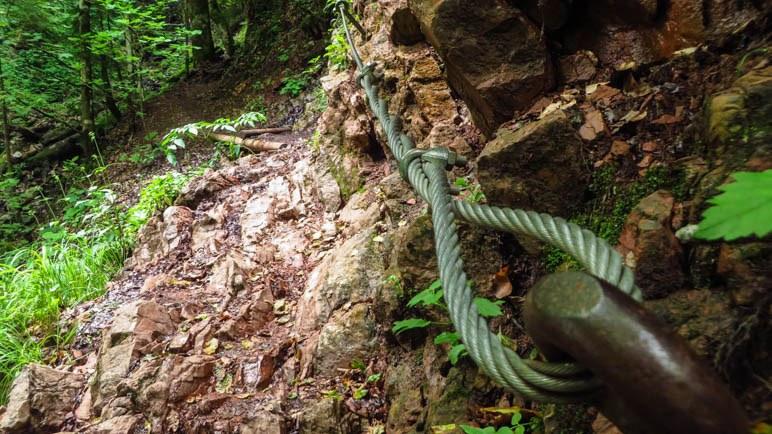 Sogar ein kurzes Stück mit Seilsicherung gibt es auf dem Weg durch die Schleifmühlenklamm