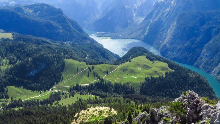 Der Blick auf den Königssee 1200 Meter unter uns