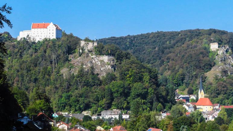 Blick zurück: DIe Rosenburg oberhalb des Städtchens Riedenburg