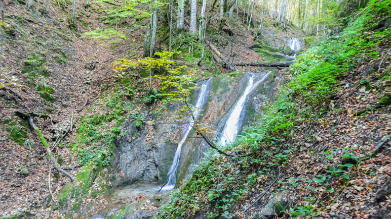 Einer der Wasserfälle am Ende des Sulzersteigs