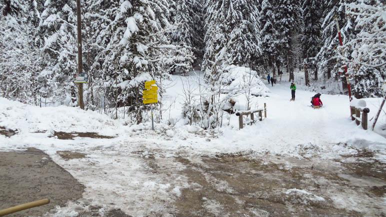 Der Abzweig zur Rotwand an der Bergwachthütte
