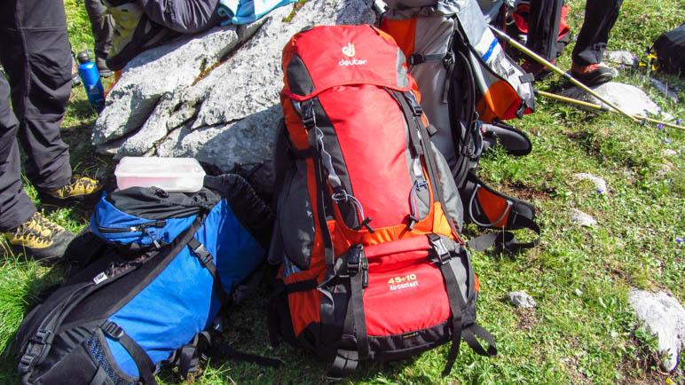 Alles, was man braucht im Rucksack. Und trotzdem noch viel zu viel mitgenommen für drei Tage
