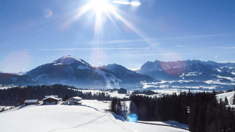 Der erste Ausblick auf das Kaisergebirge
