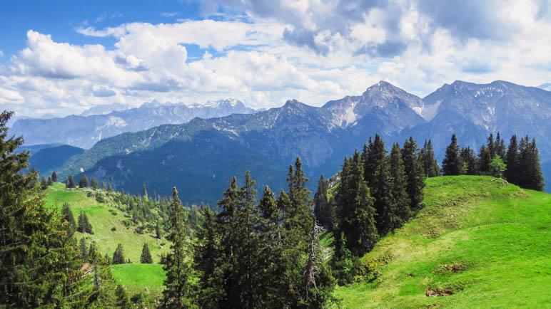 Bergpanorma auf dem Aufstieg über die Almwiesen