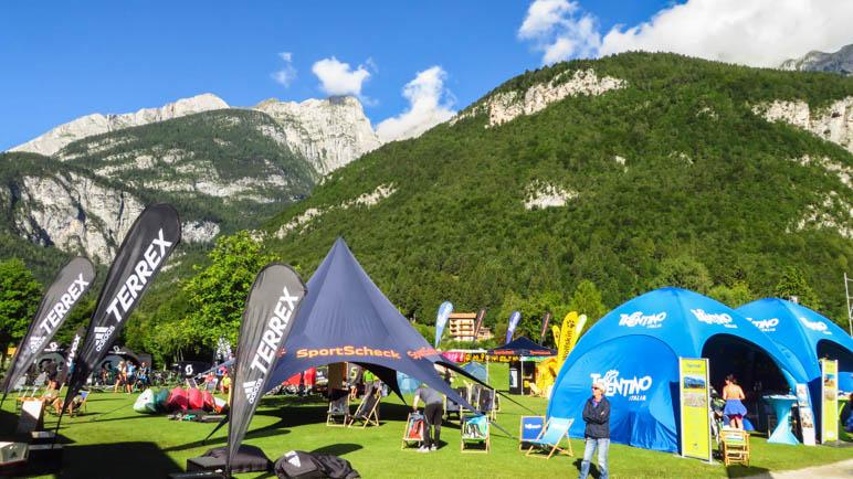 Das Basecamp und die Brenta-Berge bei richtig gutem Wetter