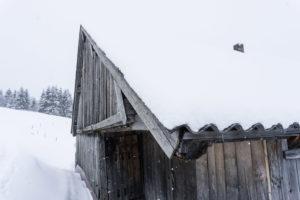 Holzwand und Dach