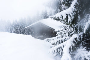 Hütte am Waldrand, mit dem beschlagenen Objektiv fotografiert