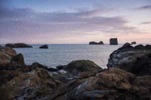 Die dem Dyrhólaey vorgelagerten Felsen im Abendlicht