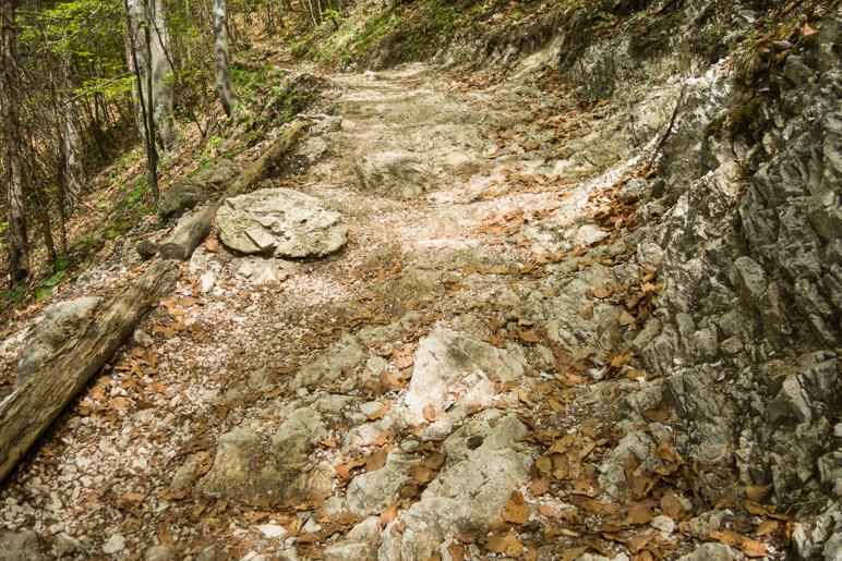 Ein steiniger Abschnitt auf dem Serpentinenweg