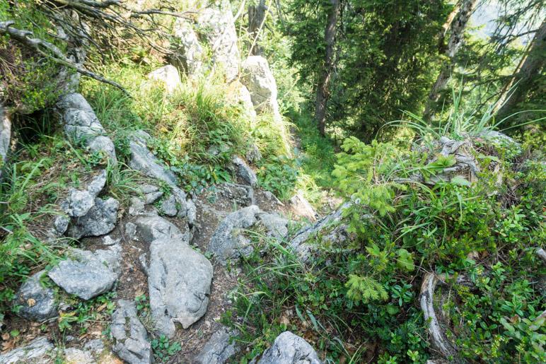 EIne Felsstufe bergab führt weiter Richtung Gipfel