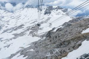 Blick zurück auf das Zugspitzplatt aus der Seilbahn zum Gipfel