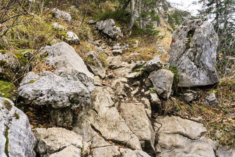 Ein felsiger Abschnitt auf dem Weg zum Gipfel