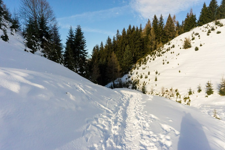 Abstieg von der Karspitze. Zwischen den Gipfelbuckeln hindurch …