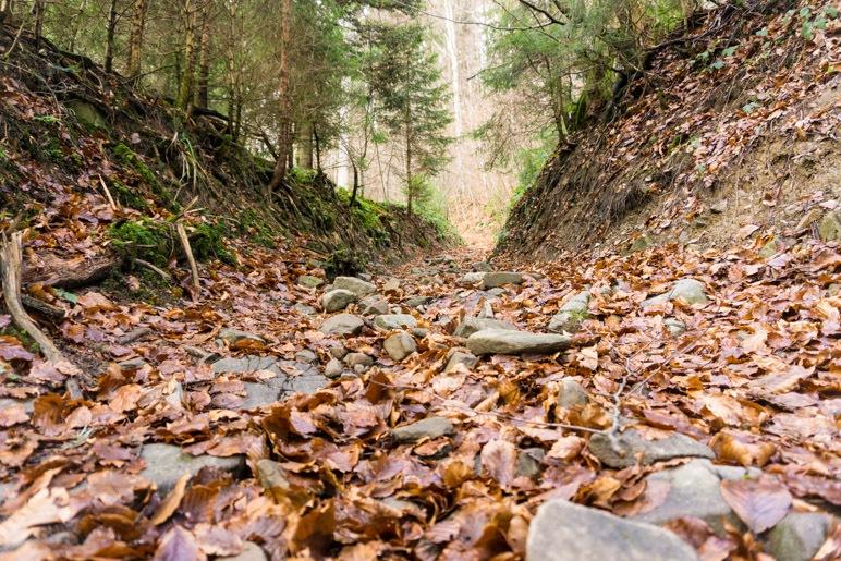 Steiniger Weg durch eine tief eingeschnittene Rinne