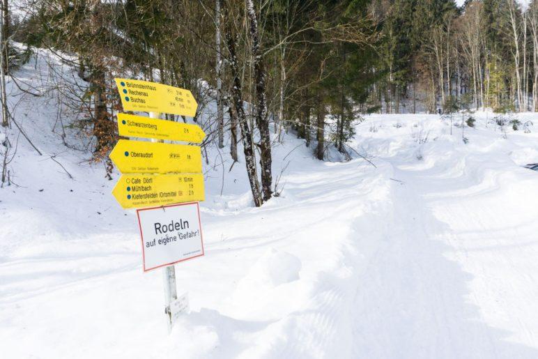Der Beginn des Wanderwegs in Mühlau