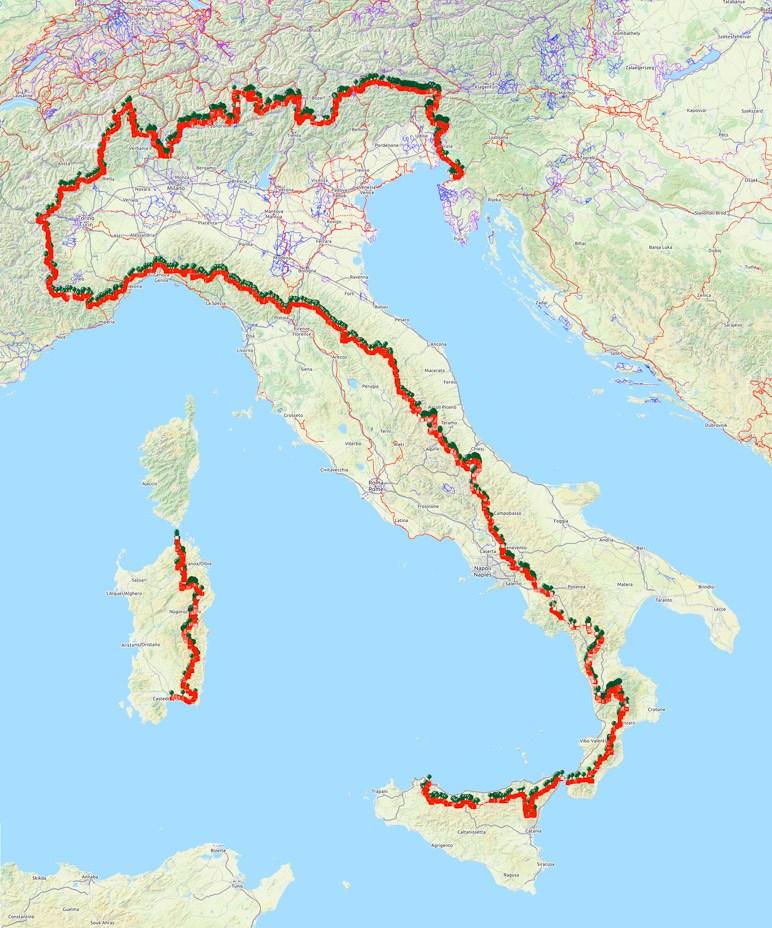 Die Wegführung des Sentiero Italia führt durch ganz Italien inklusive Sizilien und Sardinien