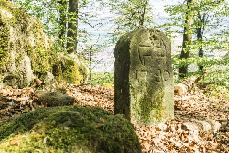 Einer der Grenzsteine auf dem Ith