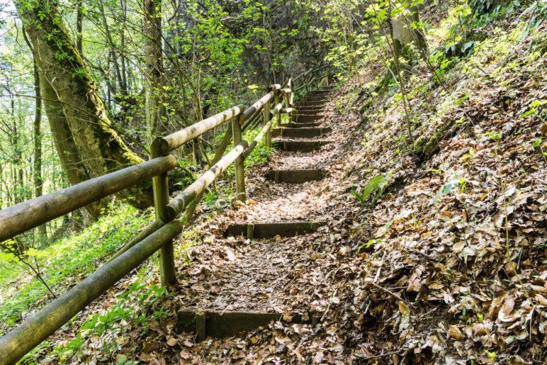 Die Treppe auf dem Weg zum Fahnenstein