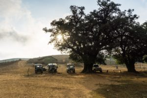 Die Jeeps am Zentrum des Pushpagiri Wildlife Sanctuary