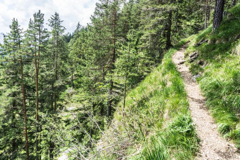 Ein Abschnitt edes Weges am Steilhang
