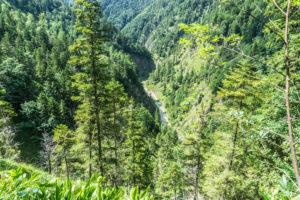 Ein Blick ins Tal. Weit unten fließt die Grundache, die in Bayern noch Valepp hieß