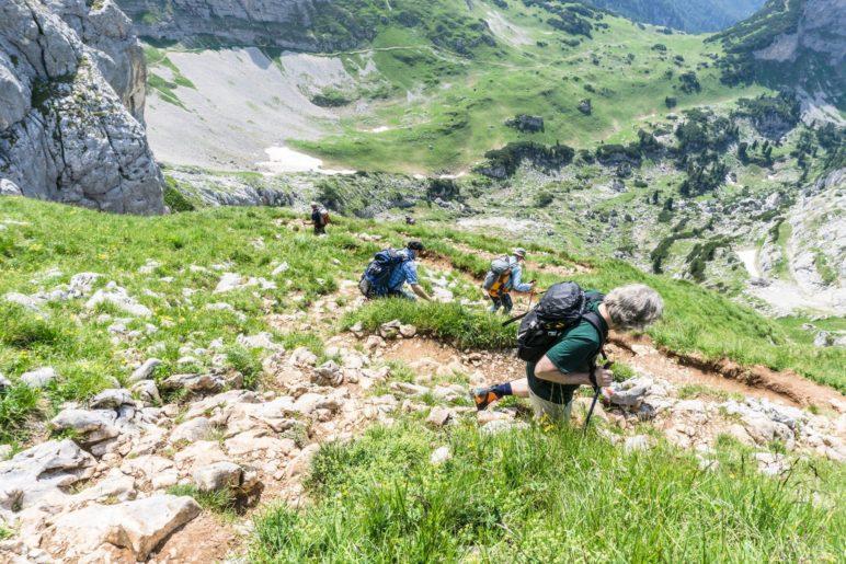 Steiler Abstieg von der Hochiss