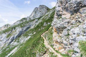 Schmaler Steig im Hochiss-Abstieg