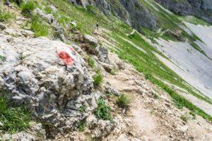 Schotterweg im Abstieg in die lange Gasse