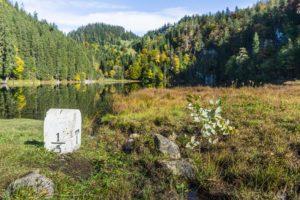Die Grenze zwischen Deutschland und Österreich verläuft in einer Linie zwischen zwei Grenzsteinen mitten durch den See.