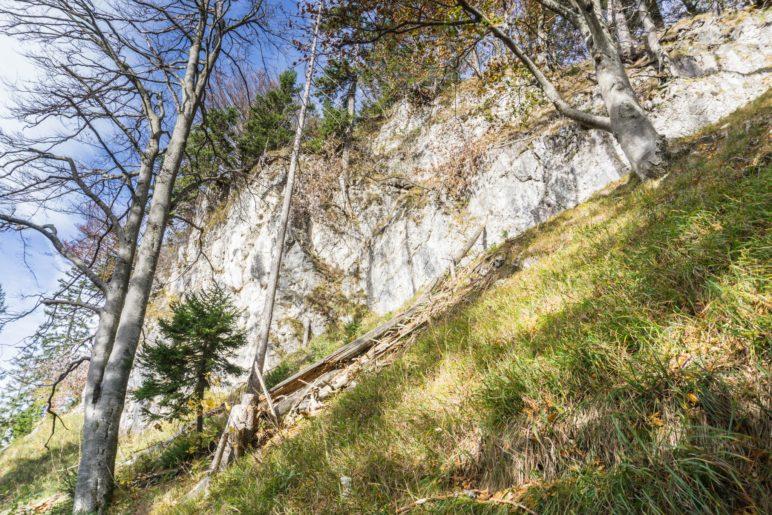 Eine markante Felswand im Aufstieg zum Wildbarren