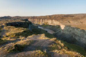 Die Jökulsárgljúfur-Schlucht, von der Westseite des Dettifoss aus gesehen