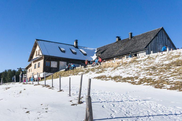 AUch auf der Stoißer Alm liegt im Winter 2019/2020 wenig Schnee