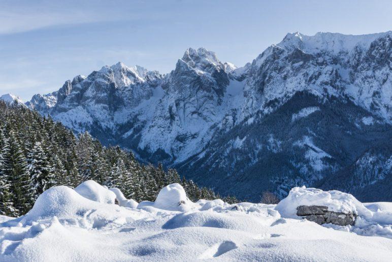 Bergblick auf den Wilden Kaiser von der Ritzau-Alm aus