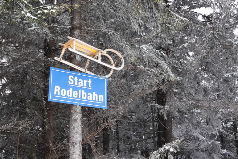 Am Start der Arber-Rodelbahn